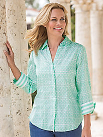 Women's Foxcroft Wrinkle Free Taylor Geo Print Shirt