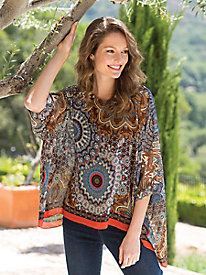 Women's Medallion Print Poncho