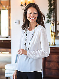 Women's Pearl Trim Blouse