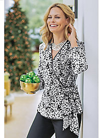 Women's Holiday Wrap Tie Blouse