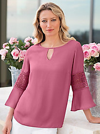 Women's Lace Button Back Popover