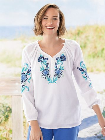 Embroidered Crinkled Cotton Pullover