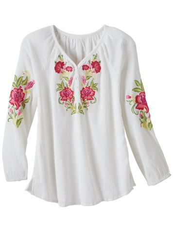 Embroidered Crinkled Cotton Pullover - Image 1 of 1
