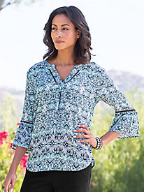 Women's 3/4 Sleeve Stretch Challis Blouse