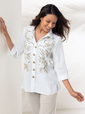 Embroidered Novelty Button Tunic