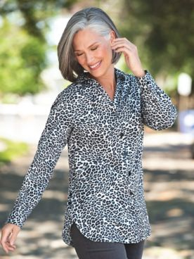 Foxcroft Animal Side-Button Tunic