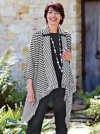 Women's Fringe-Detail Sweater Coat