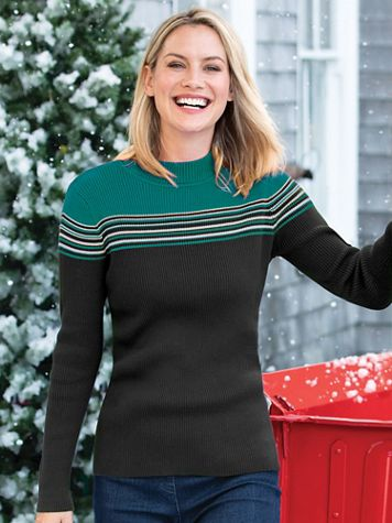 Women's Colorblock Mockneck Sweater - Image 1 of 8
