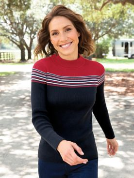 Women's Colorblock Mockneck Sweater