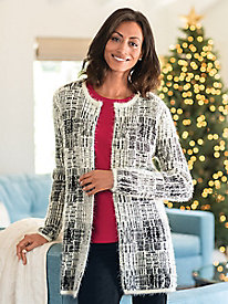 Women's Winter-White Eyelash Cardigan