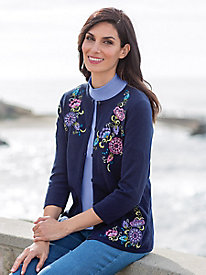 Women's April's Garden Embroidered Cardigan