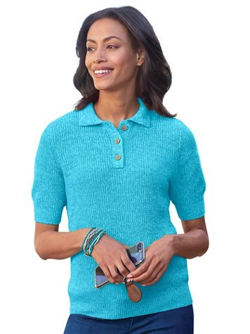 Elbow-Sleeve Linen/Cotton Polo Sweater