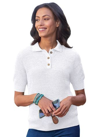 Elbow-Sleeve Linen/Cotton Polo Sweater - Image 1 of 3