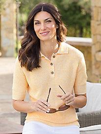 Women's Elbow-Sleeve Linen/Cotton Polo