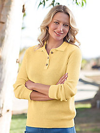 Women's Long-Sleeve Linen/Cotton Polo