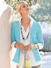 Women's Packable Silk Cable Cardigan