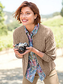 Women's Shetland Wool Cabled Cardigan Sweater by Norm Thompson