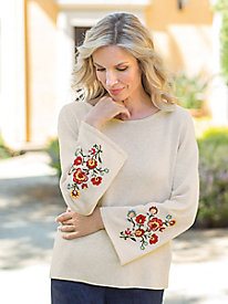 Women's Floral Embroidered Sweater