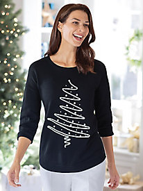 Women's Holiday Soutache Tree Pullover Sweater