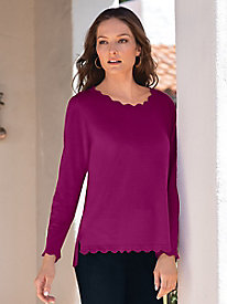 Women's Scalloped Edge Pullover Sweater by Norm Thompson