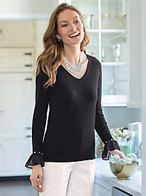 Women's Bell Sleeve Pearl Sweater