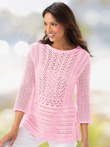 Summer Crochet Pullover Sweater - Image 1 of 4