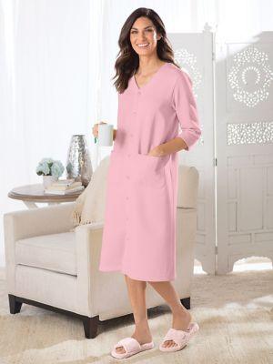 Women s Luxur-Ease Lightweight Snap Front Fleece Robe ... c11a33786