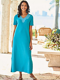 Women's Embroidered Knit Caftan