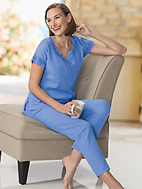 Women's Go Anywhere Gauze Embroidered Cotton Lounge Set