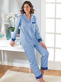 Women's Brushed Back Satin Foulard Pajama Set
