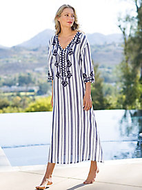 Women's Yarn Dyed Stripe and Embroidered Caftan