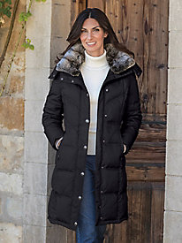 Women's London Fog Down Coat with Faux Fur Collar