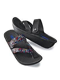 Woman's Wolky Leather Flip-Flops