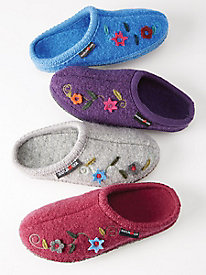Women's Haflinger Veronica Boiled Wool Flower Slippers