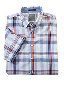 Men's Enro Wrinkle-Free Short Sleeve Plaid Shirt