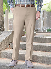 Men's Stretch Wool-Blend Auto-Sizer Plain Pants