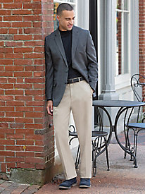 Men's Haggar Premium Plain Front Khakis with Autosizer
