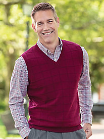 Men's Windowpane Sweater Vest