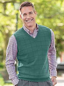 Men's Windowpane Sweater Vest