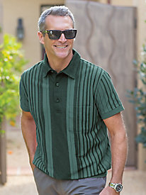 Men's Right-Now Vertical Banded-Bottom Polo