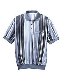 Men's Vertical Stripe Banded-Bottom Polo
