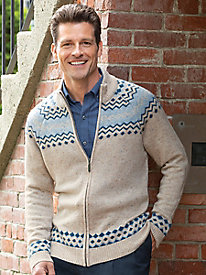 Men's Full Zip Fair Isle Sweater