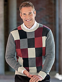 Men's Tonal Squares Crewneck Sweater
