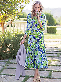 Women's Watercolor Garden Knit Dress