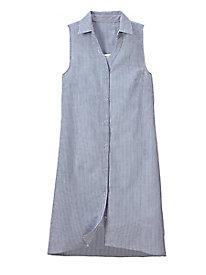 Women's Seersucker Sleeveless Shirtdress