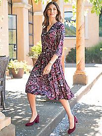 Women's Pretty in Paisley Wrap-Style Dress