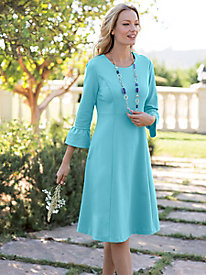 Women's Fit with Flare Bell-Sleeve Dress