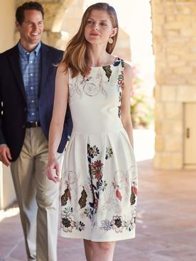 Women's Parisian Posie Border Floral Dress