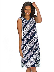 Women's Textured Scroll Print A-Line Dress