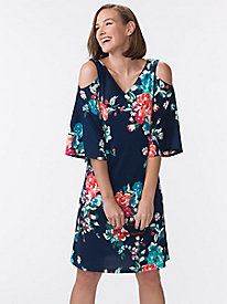 Women's Cold Shoulder Garden Swing Dress